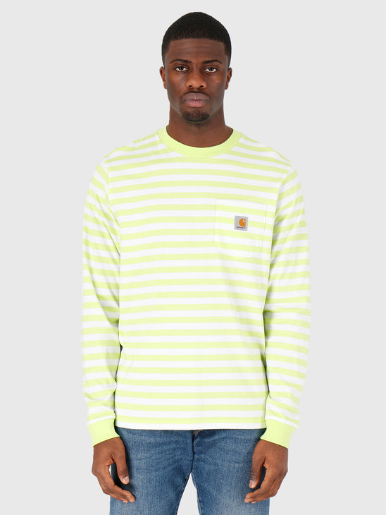Carhartt WIP Scotty Pocket Longsleeve Scotty Stripe Lime White I027733-09E1A