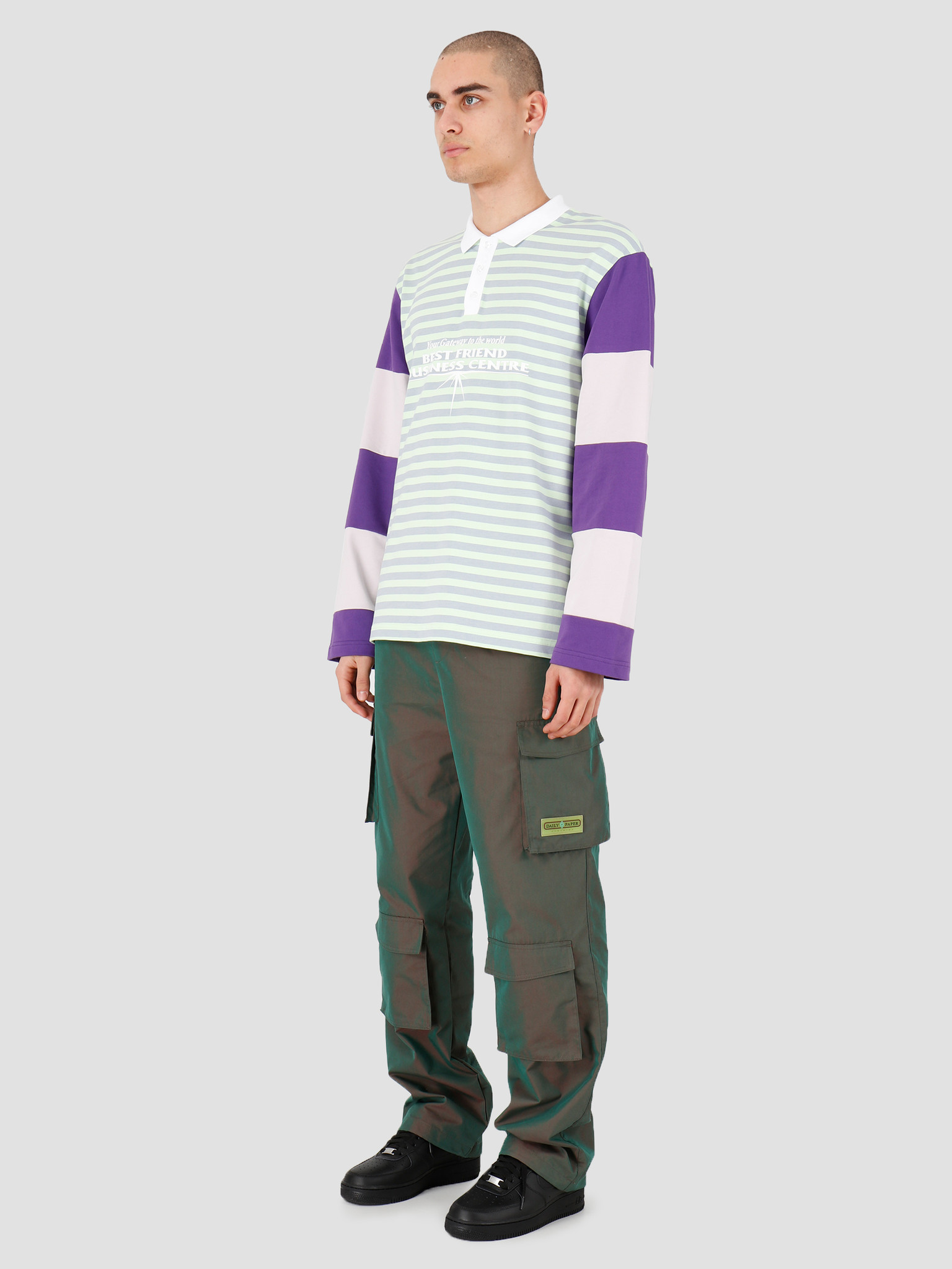 Daily Paper Daily Paper Hapolo Longsleeve Green Purple Stripe 20S1LS02-01
