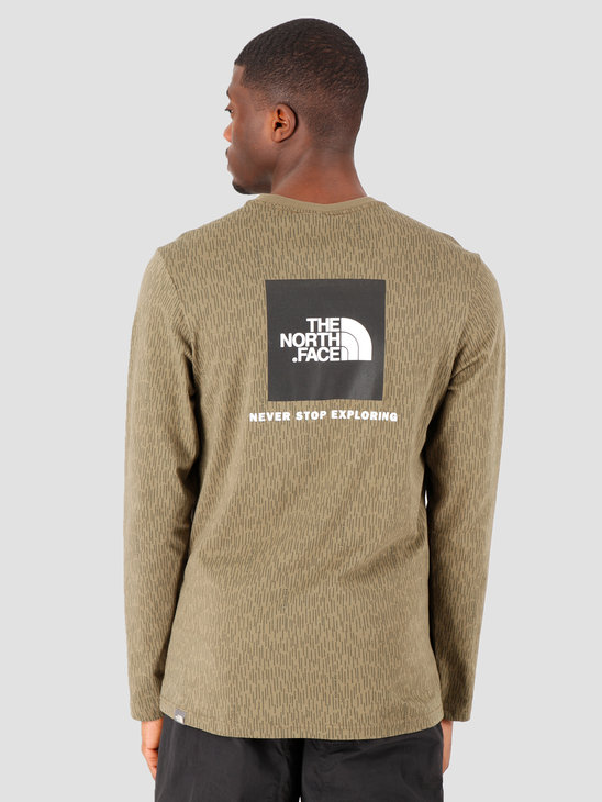 The North Face Longsleeve Red Box Tee Burnt Olive Green Rain Camo Print NF0A493LM1A1