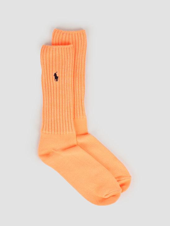 Polo Ralph Lauren Slouch Sock Crew Faded Neon Orange 449799789002