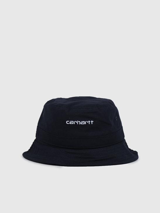Carhartt WIP Script Bucket Hat Dark Navy White I026217-1C90