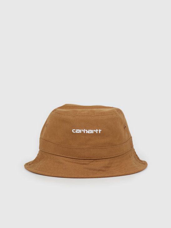 Carhartt WIP Script Bucket Hat Hamilton Brown White I026217-HZ90