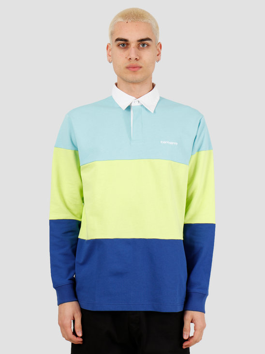 Carhartt WIP Newport Rugby Polo Window Lime Submarine I027650-08K90
