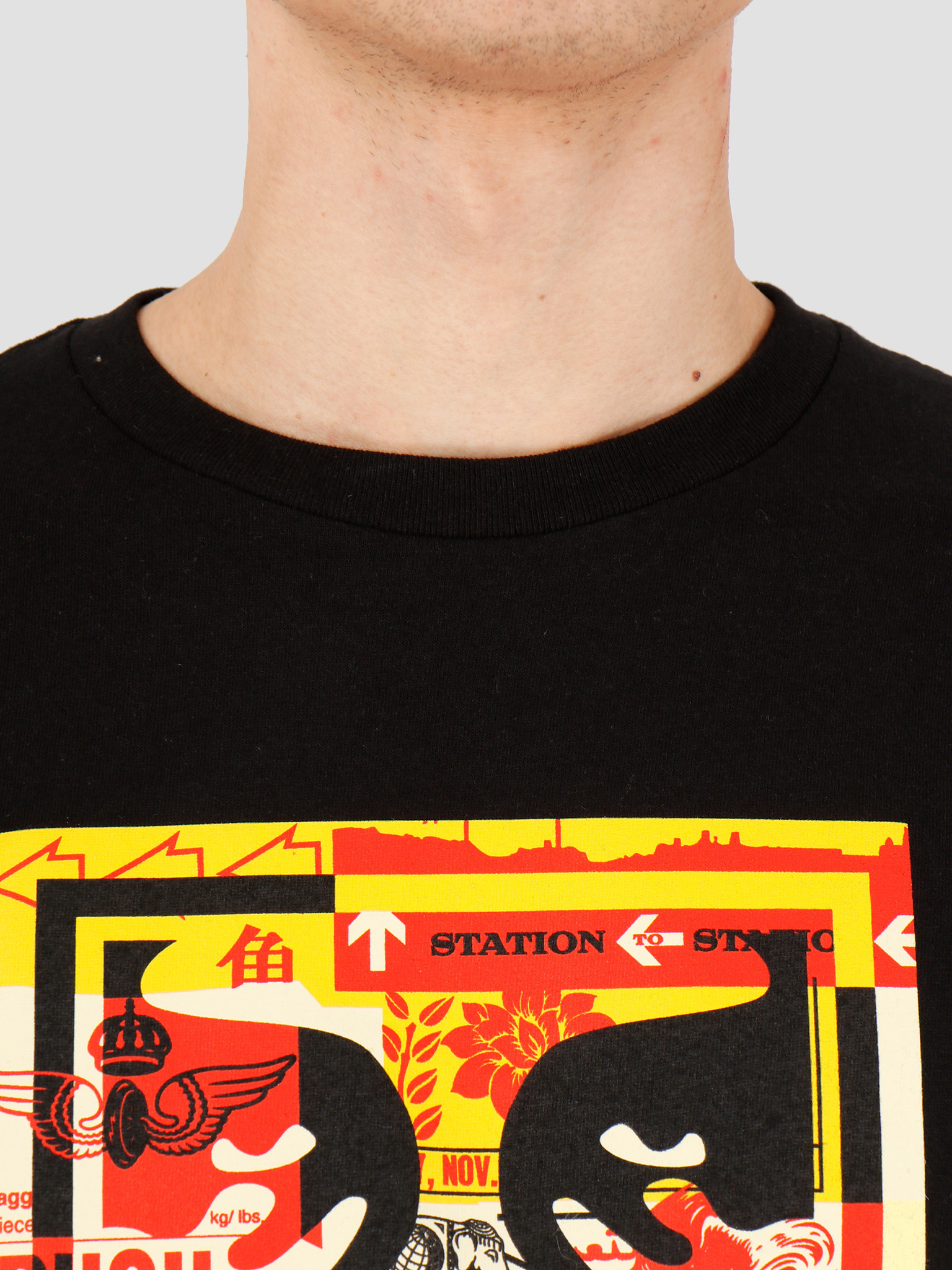 Obey Obey Obey 3 face collage T-shirt Black 163082219 BLK