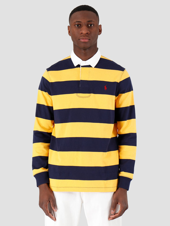 Polo Ralph Lauren Striped Rugby Shirt French Navy Gold Bugle 710784004005