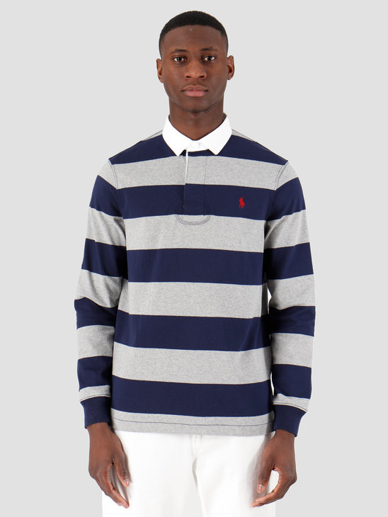 Polo Ralph Lauren Striped Rugby Shirt League Heather French Navy 710784004006