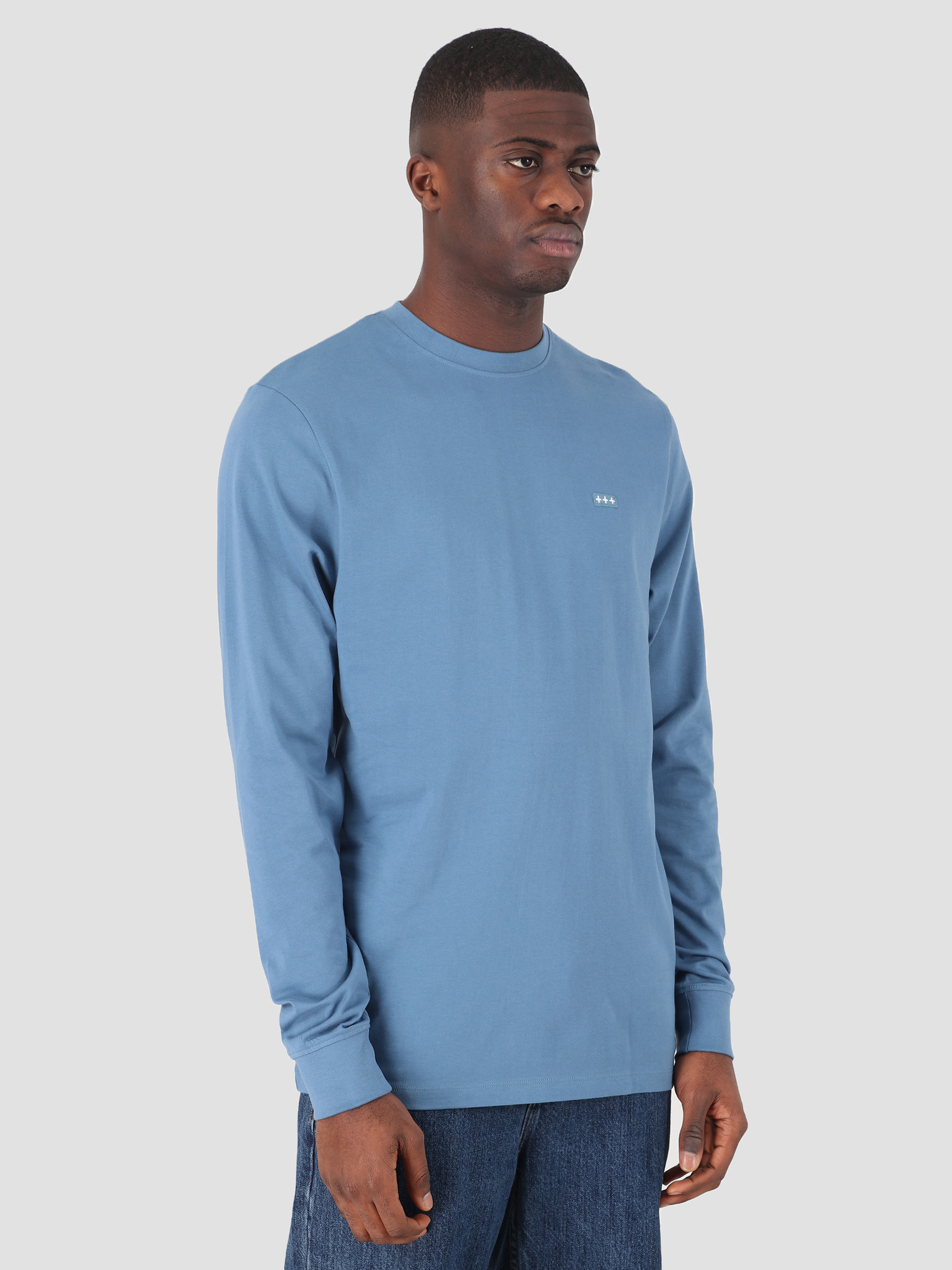 Quality Blanks Quality Blanks QB05 Patch Logo Longsleeve Misty Blue