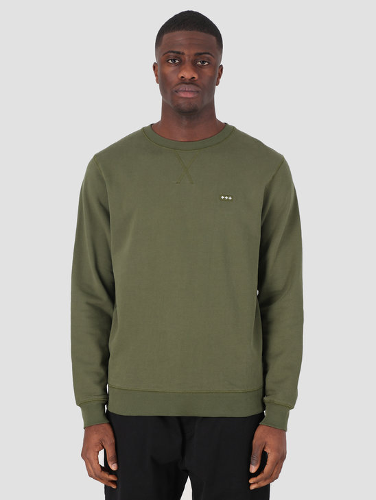 Quality Blanks QB94 Patch Logo Crewneck Military Green