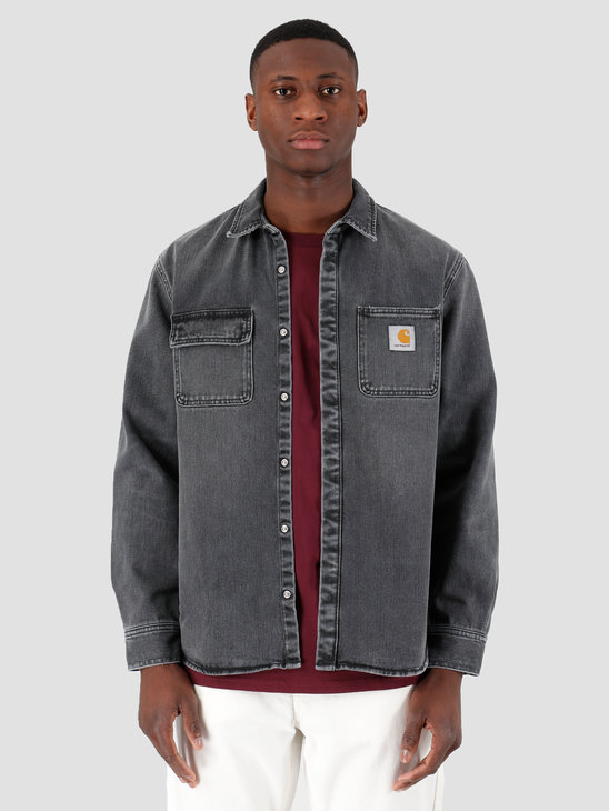 Carhartt WIP Salinac Shirt Jac Black Worn Bleached I027545-89WJ