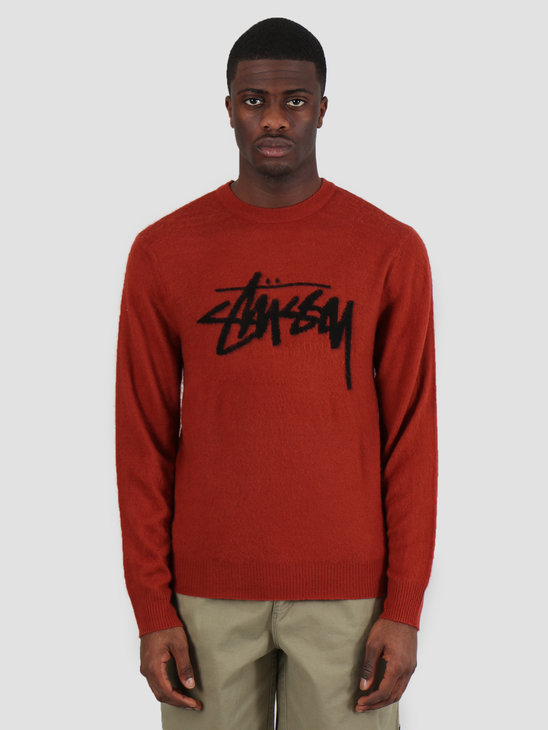 Stussy Brushed Out Logo Sweater Brick 217044