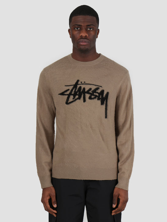 Stussy Brushed Out Logo Sweater Taupe 217044