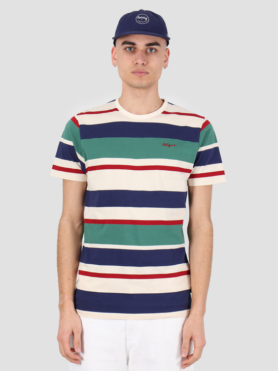 Ceizer Ceizer Embroidery Striped T-Shirt Creme-Green-Blue-Red 2020-005