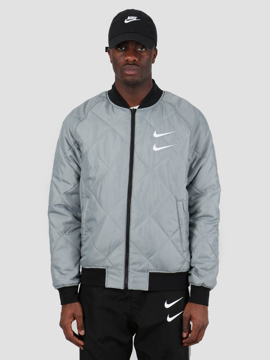 Nike NSW Swoosh Bomber Jacket Woven Black Particle Grey White CJ4875-010