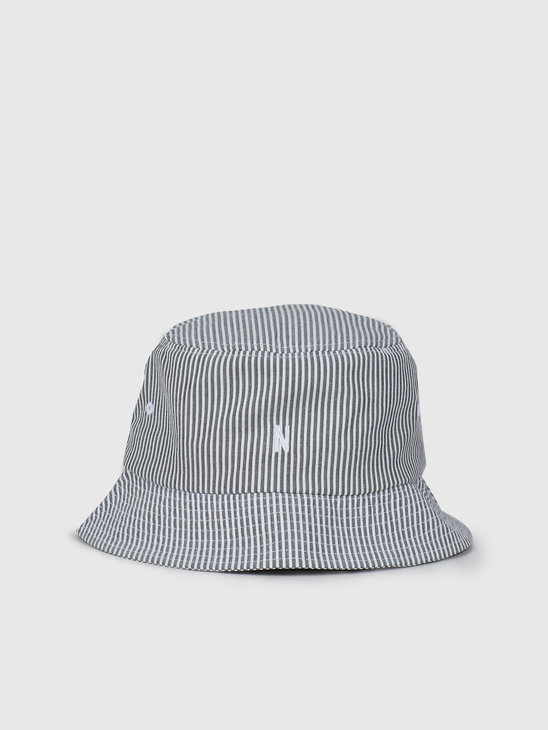 Norse Projects Seersucker Bucket Hat Navy Stripe N80-0024-7125