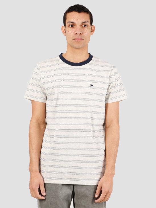 Wemoto Warren Stripe T-Shirt Sand Melange Navy Blue 151.225-827