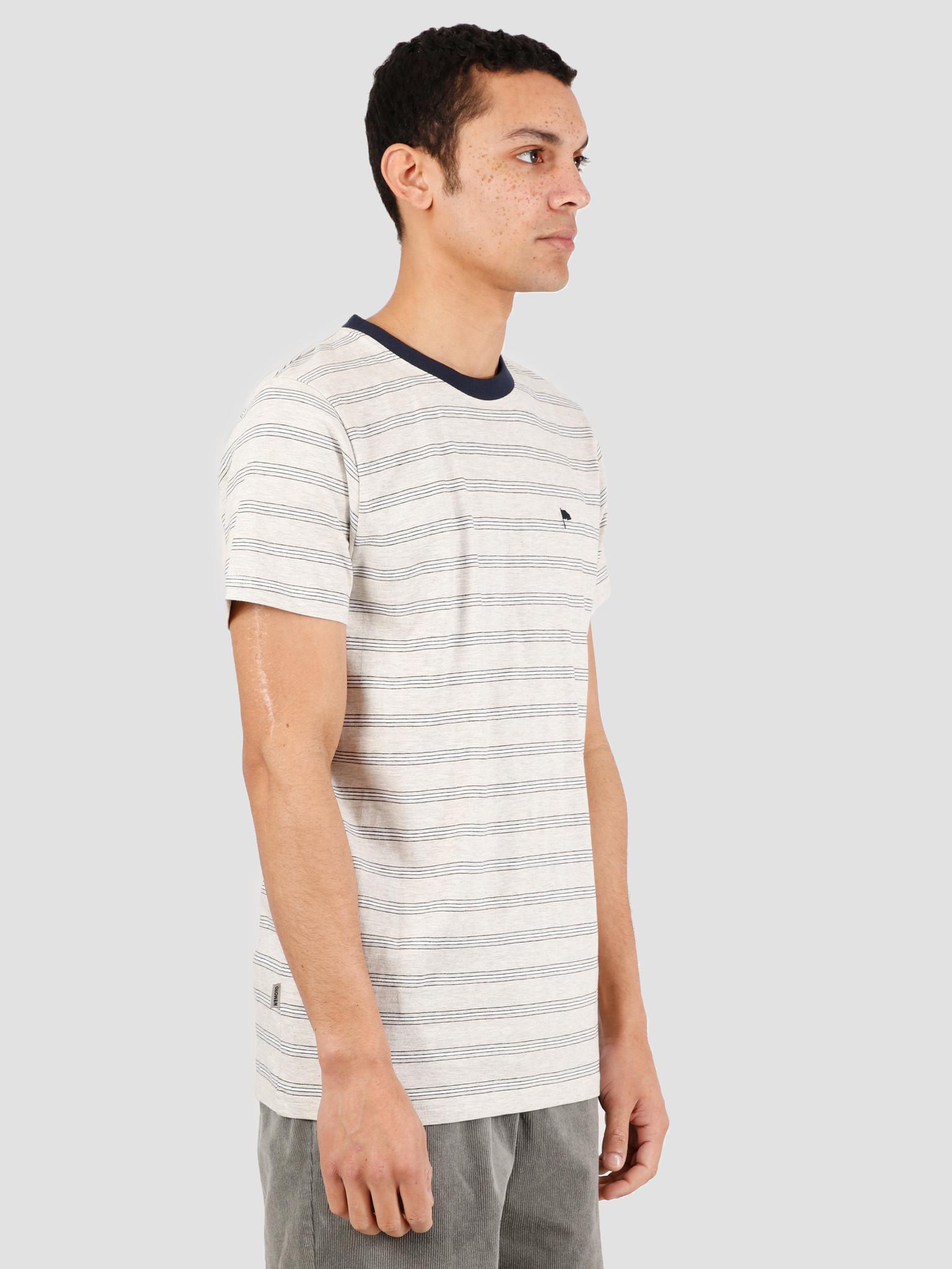 Wemoto Wemoto Warren Stripe T-Shirt Sand Melange Navy Blue 151.225-827