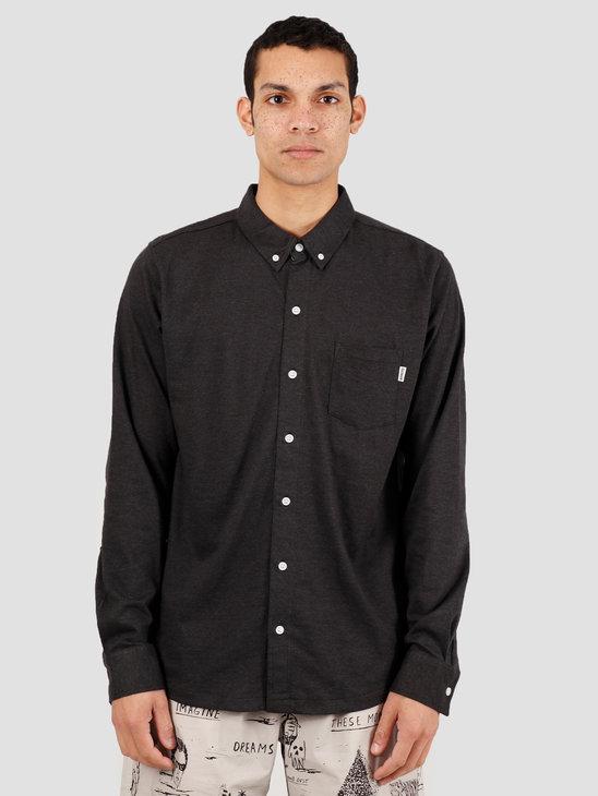 Wemoto Shaw Mel Shirt Button Up Black Melange 151.234-101