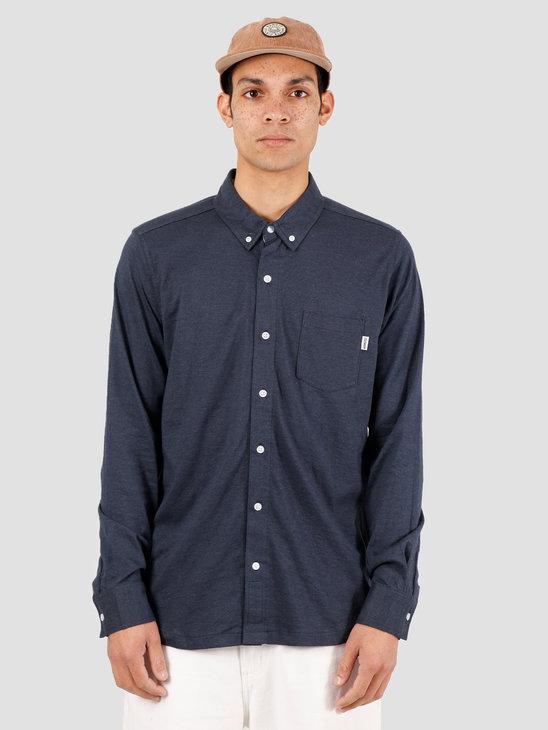 Wemoto Shaw Mel Shirt Button Up Navy Blue Melange 151.236-414