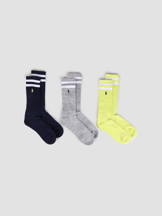 Polo Ralph Lauren 3 Pack Beach Crew Socks Bright Pear  Grey  Navy 449799753001