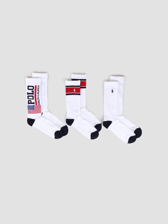 Polo Ralph Lauren 3 Pack Flag Crew White 449799755002