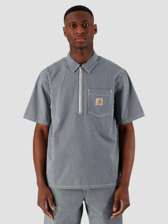 Carhartt WIP Dash Short Sleeve Shirt Blue White Rinsed I027987-98102