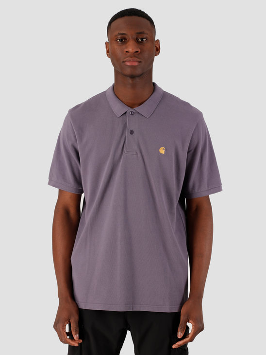 Carhartt WIP Chase Short Sleeve Pique Polo Decent Purple Gold I023807-08X90
