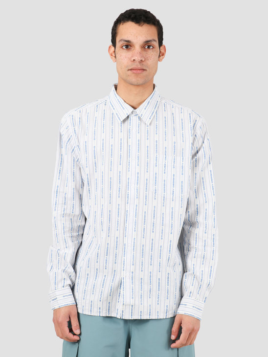Stussy Jacquard Logo Stripe Shirt White 1110101