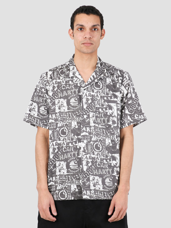 Carhartt WIP Collage Short Sleeve Shirt Collage Print Black White I027532-09M00