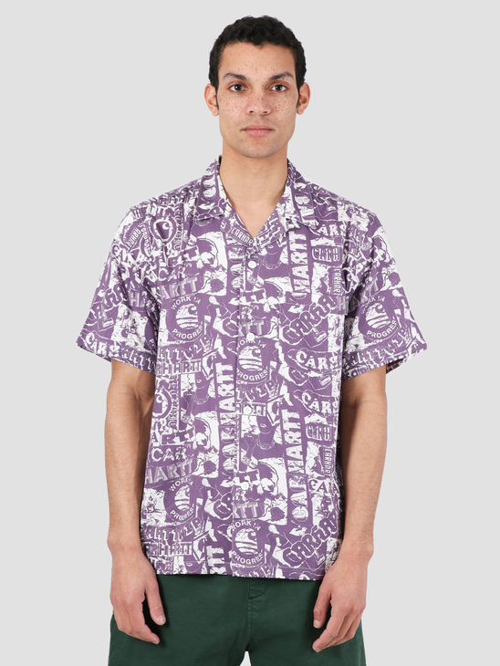 Carhartt WIP Collage Short Sleeve Shirt Collage Print Decent Purple White I027532-09O00
