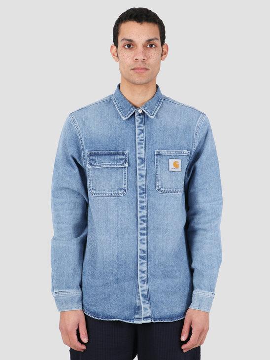 Carhartt WIP Salinac Shirt Jac Blue Worn Bleached I027545-01WJ