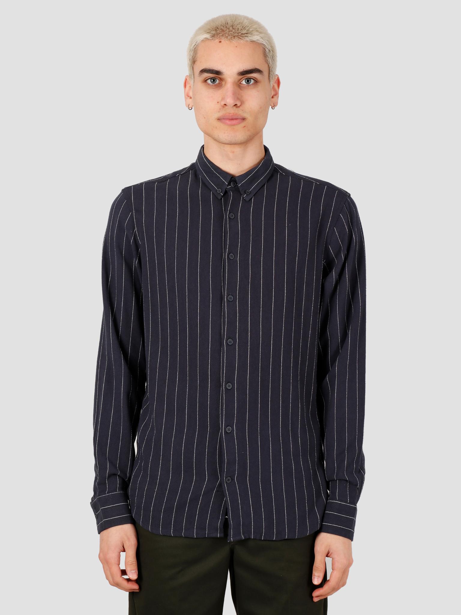 Kronstadt Kronstadt Johan Linen Stripe Shirt Navy KS2843