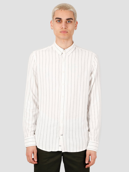 Kronstadt Johan Linen Stripe Shirt Off White KS2843
