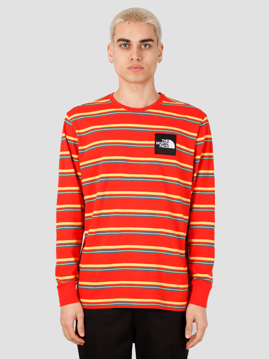 The North Face Boruda Longsleeve Tee Fiery Red Stripe NF0A4C9IH8S1
