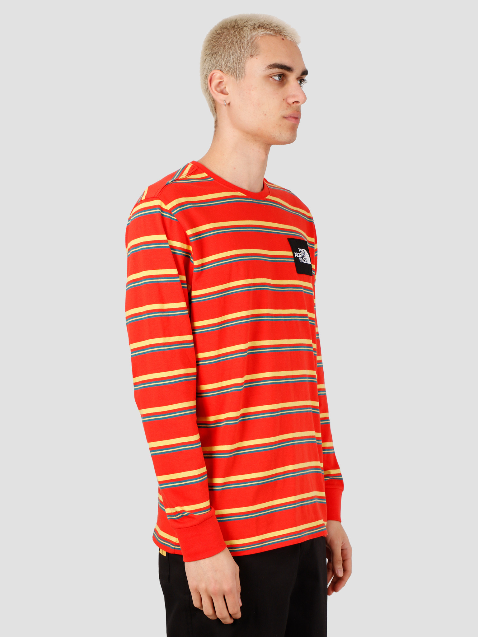 The North Face The North Face Boruda Longsleeve Tee Fiery Red Stripe NF0A4C9IH8S1