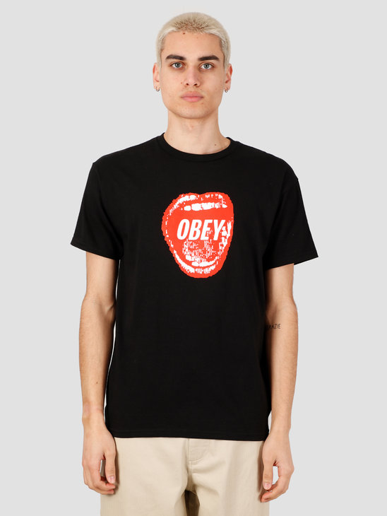 Obey Screamin' Lips T-Shirt Black 163082231-BLK