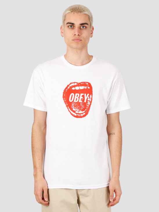 Obey Screamin' Lips T-Shirt White 163082231-WHT