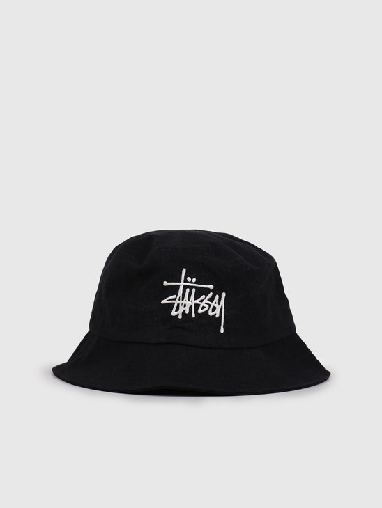 Stussy Big Logo Canvas Bucket Hat Black 132967