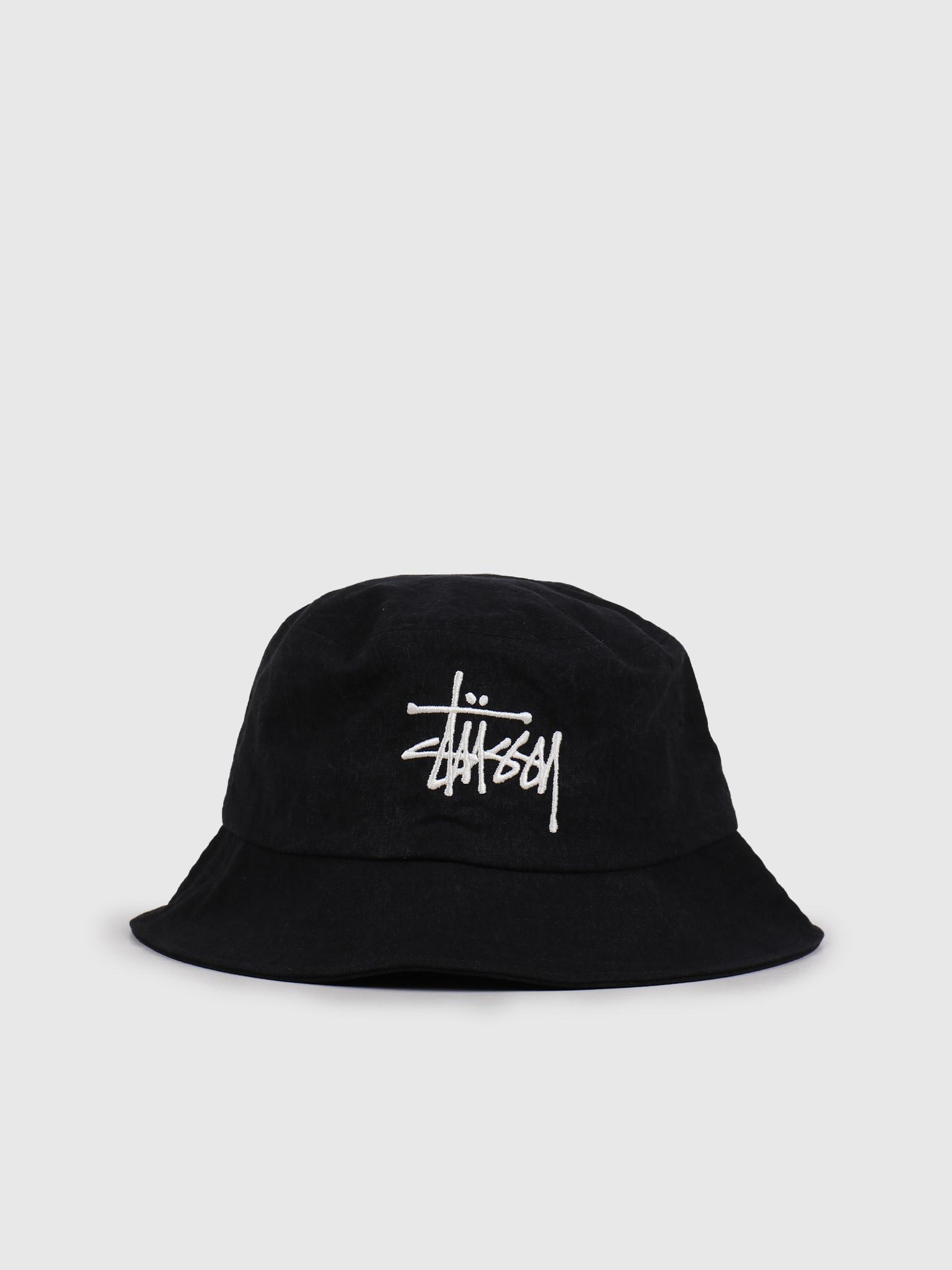 Stussy Stussy Big Logo Canvas Bucket Hat Black 132967