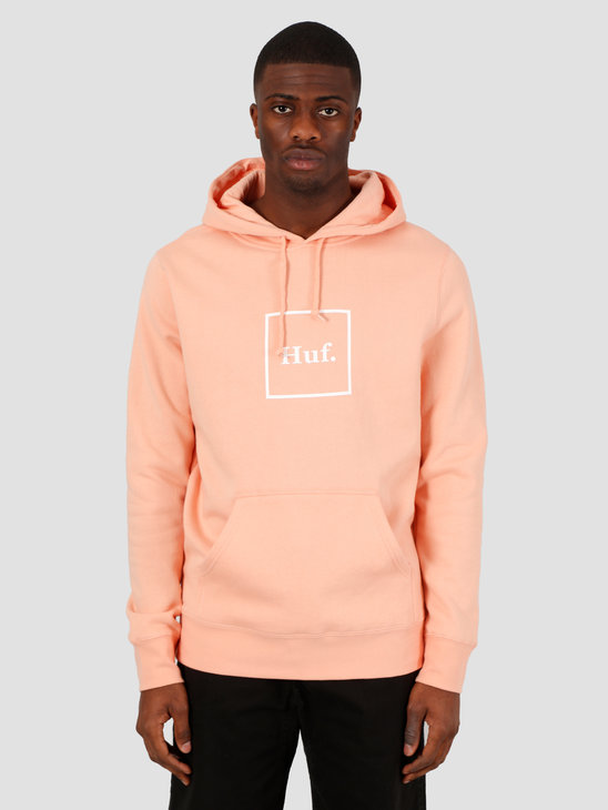 HUF Box Logo Pullover Hoodie Coral Pink PF00098