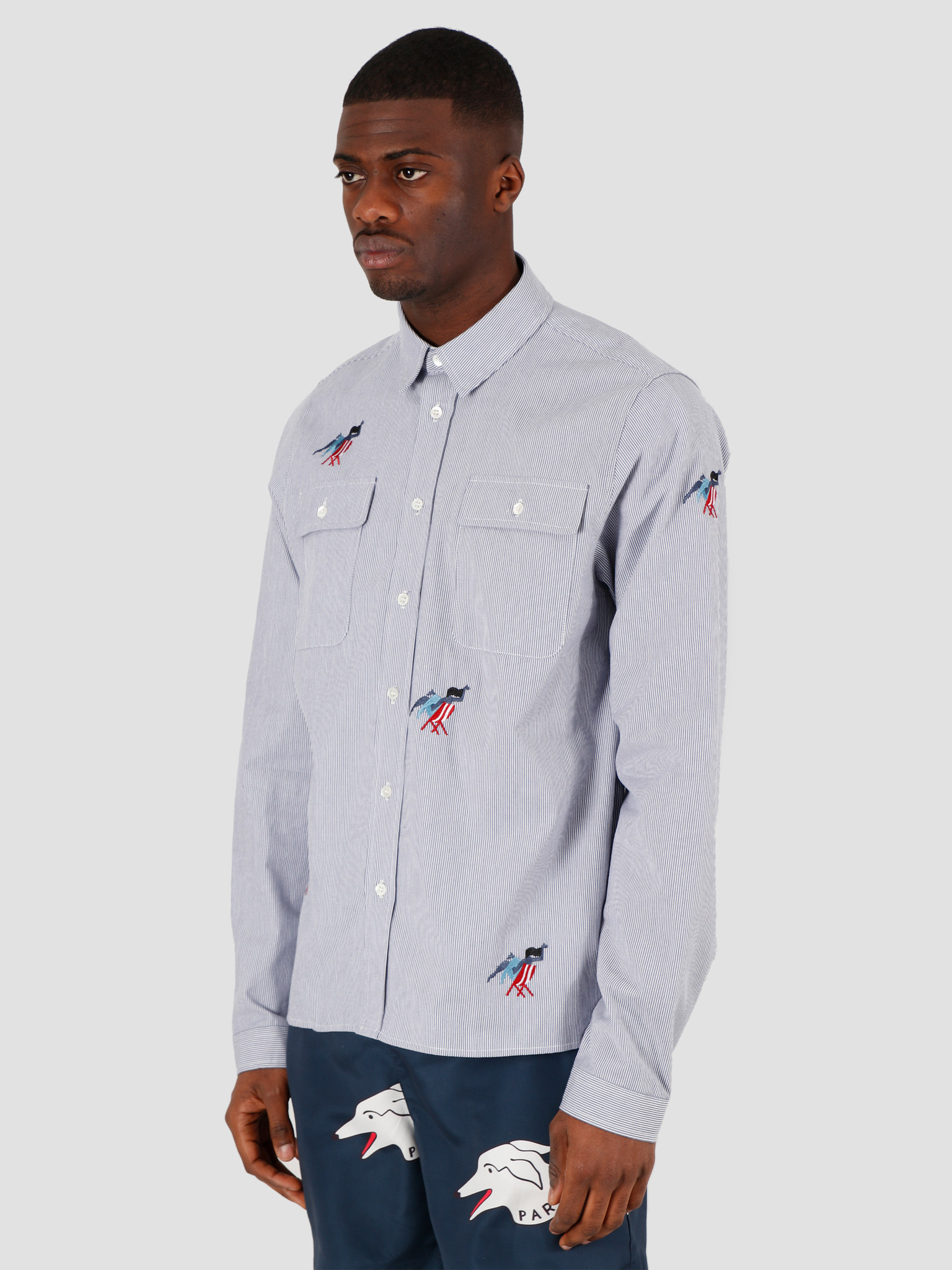 by Parra by Parra Madame Beach Striped Shirt Blue White Stripe 43800