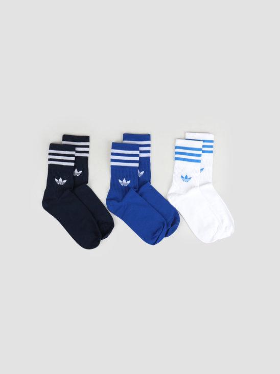 adidas Mid Cut Crew Sock Collegiate Navy Core Royal White ED9395