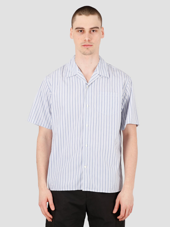 Norse Projects Carsten Poplin Shirt Blue Mix Stripe N40-0518-7553