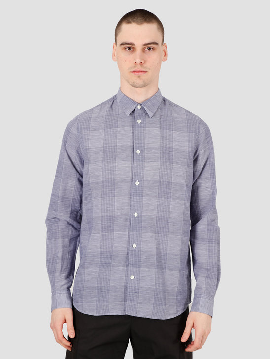 Norse Projects Hans Cotton Linen Check Shirt Twilight Blue N40-0522-7169