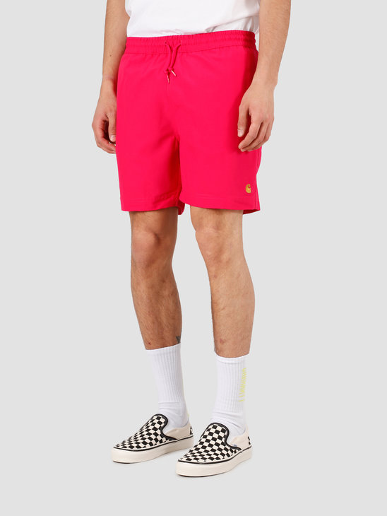 Carhartt WIP Chase Swim Trunks Ruby Pink Gold I026235-09D90