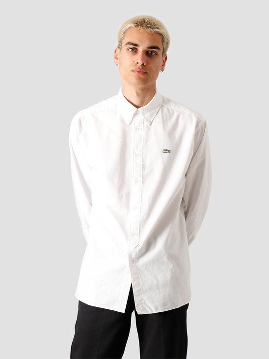 Lacoste 1HC2 Men's Long Sleeve woven shirt 02 White Flour CH3942-01