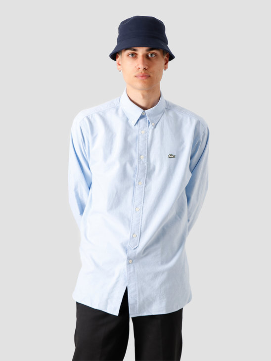 Lacoste 1HC2 Men's Long Sleeve woven shirt 02 Hemisphere Blue White CH3942-01