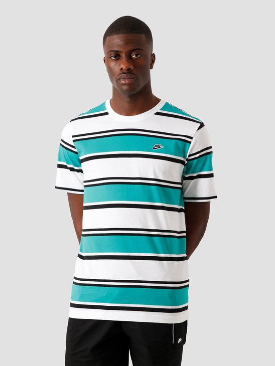 Nike NSW Stripe T-Shirt White Neptune Green Black CQ5297-102