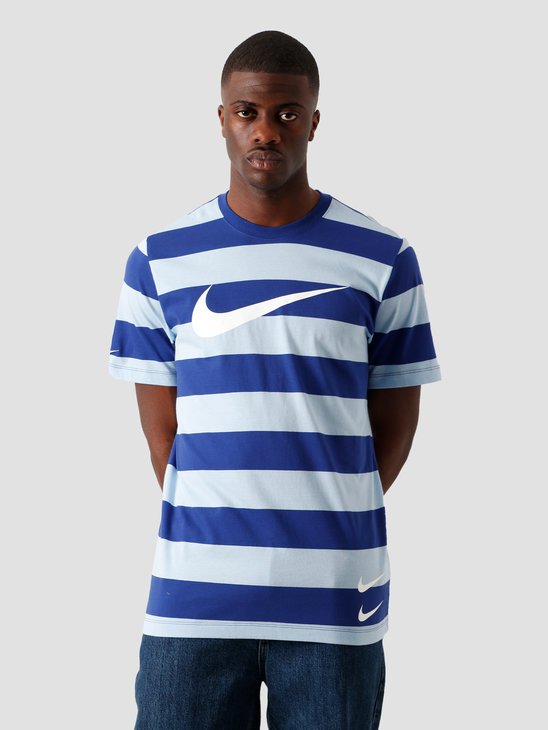 Nike NSW Swoosh Stripe T-Shirt Psychic Blue Deep Royal Blue White CQ5196-436