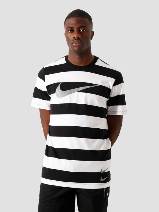Nike NSW Swoosh Stripe T-Shirt White Black Black Particle Grey CQ5196-100