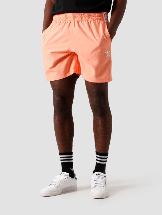 adidas 3 Stripe Swimshort Chalk Coral FM9877